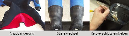 Reparaturservice für Trockentauchanzüge und Nassanzüge